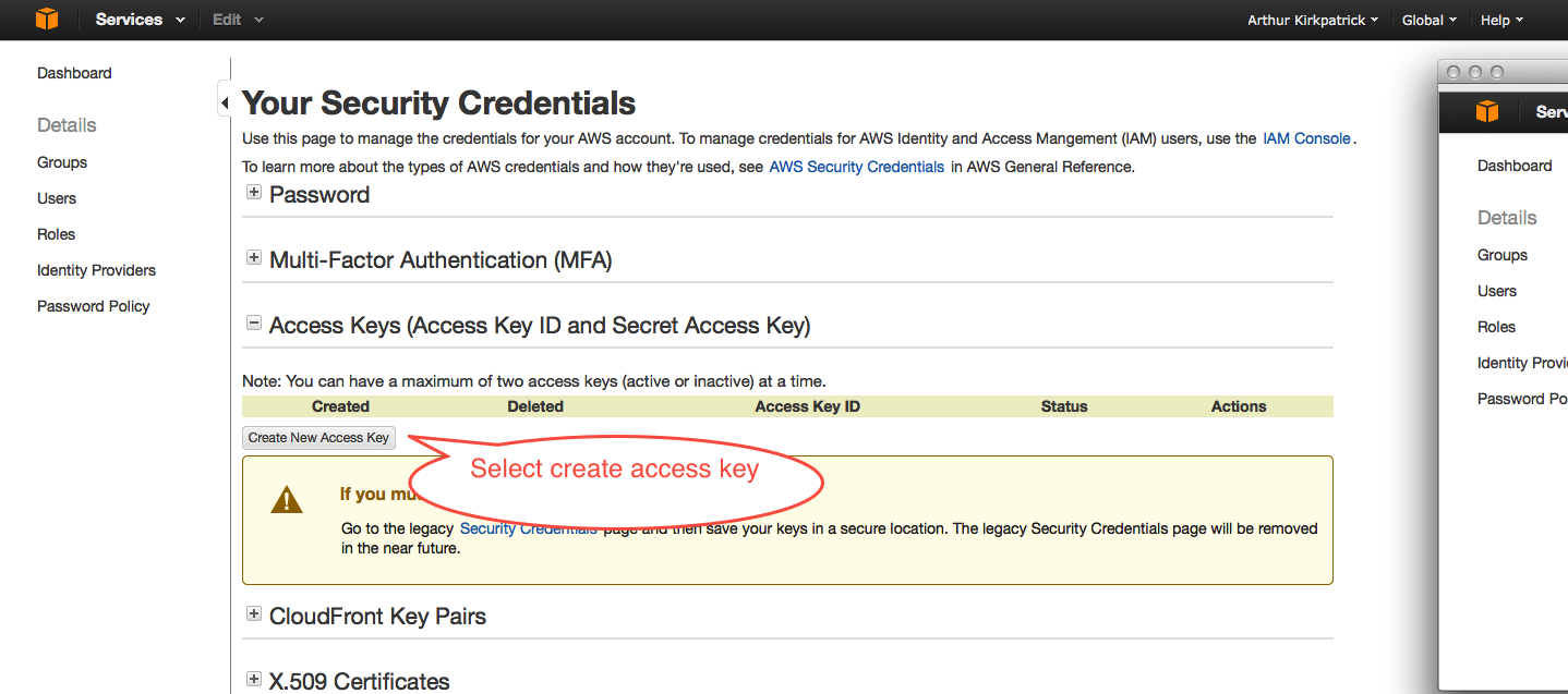Creating access keys for AWS REST calls
